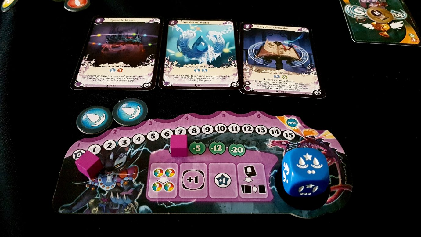 Energy tokens in a player board