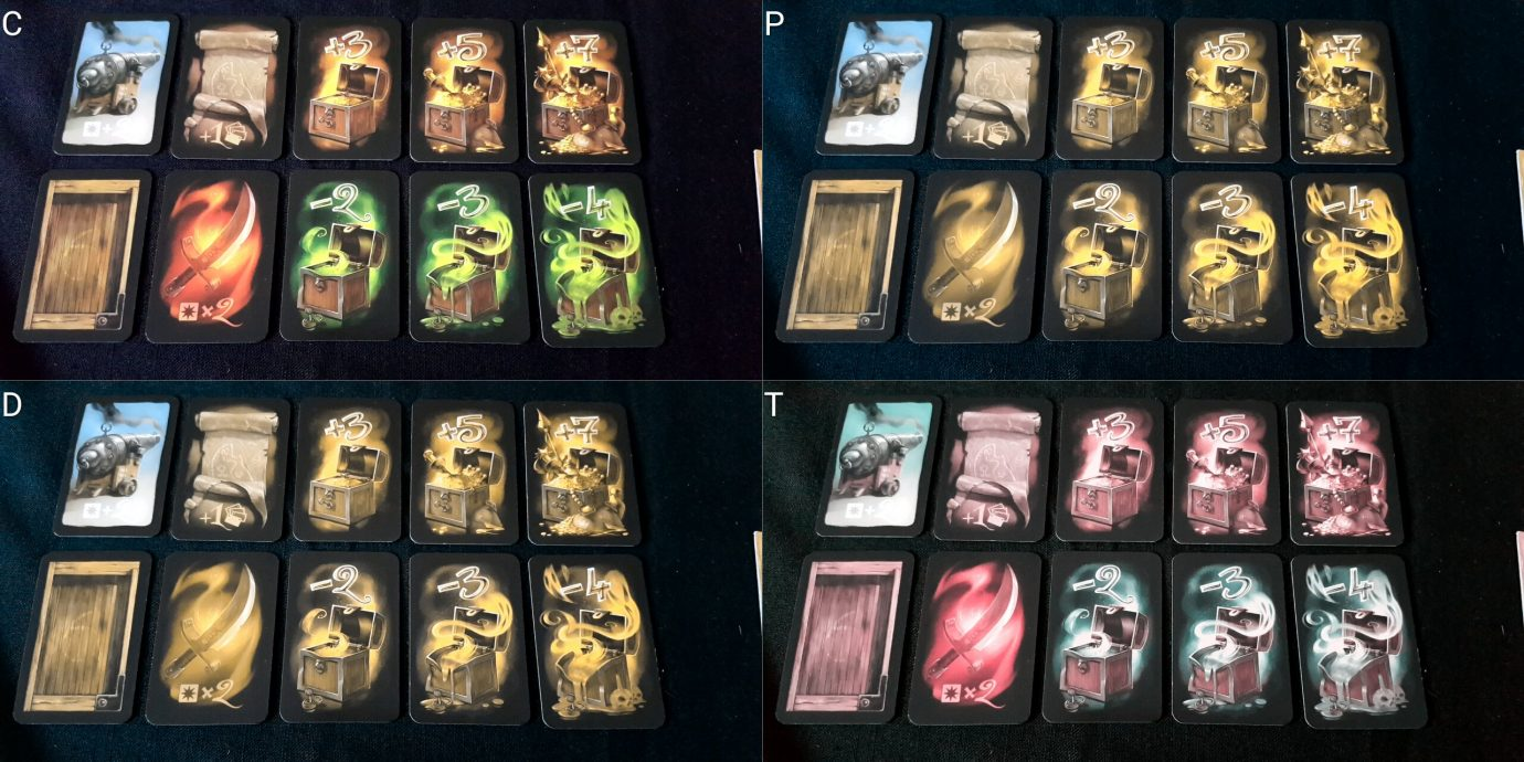 Colour blind treasure cards