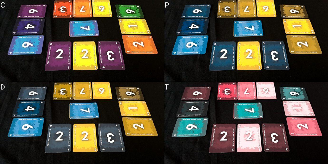 Colour blind card layout