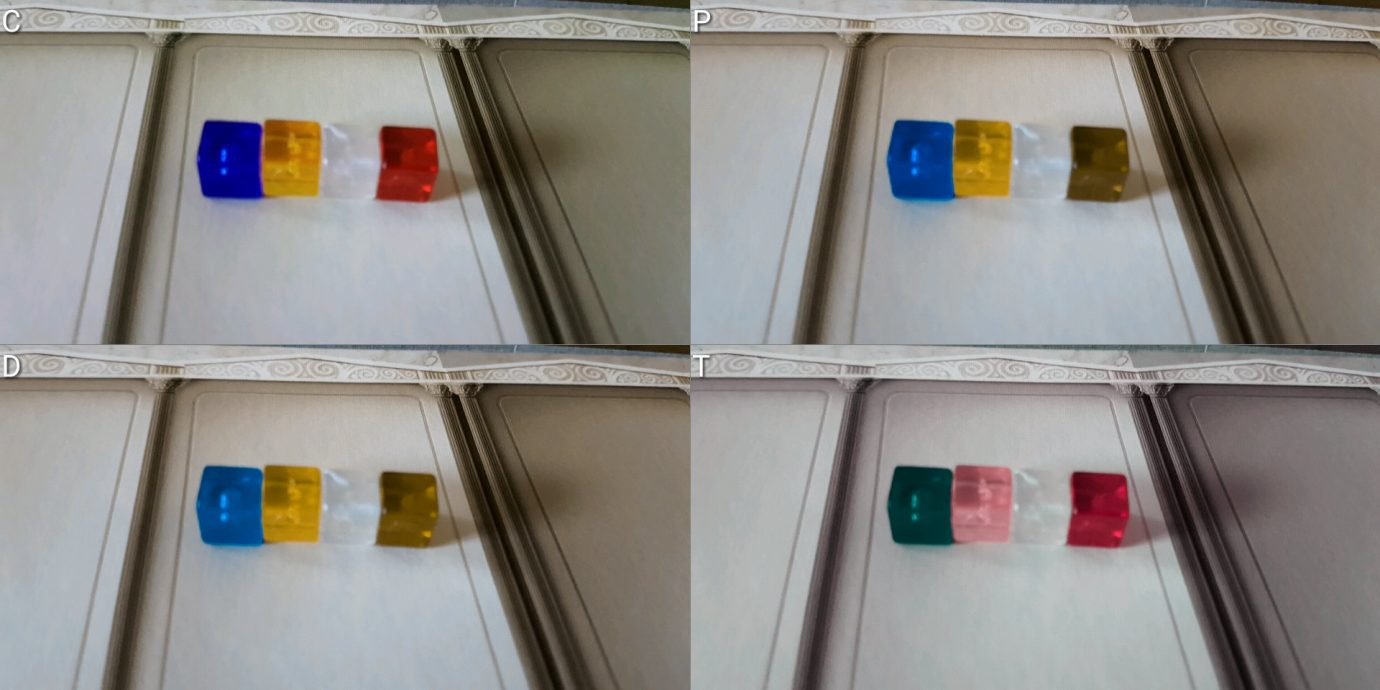 Colour blind cubes in isolation