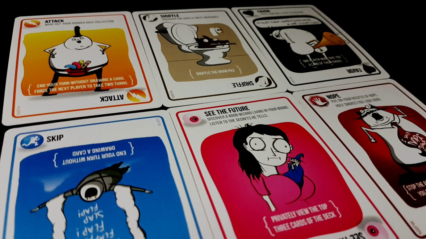 Different types of cards in Exploding Kittens