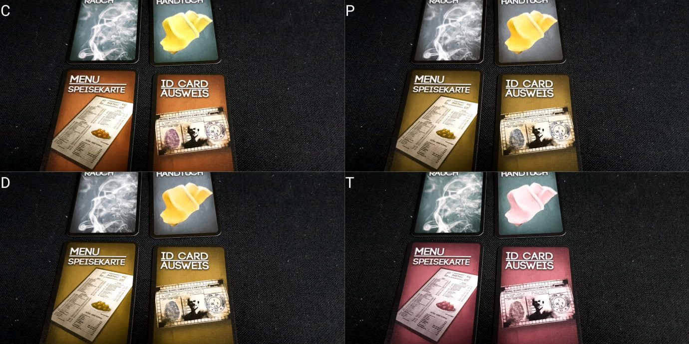 Colour blindness card fronts