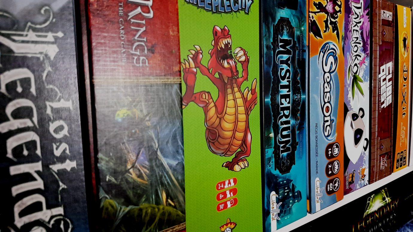 Shelves containing games