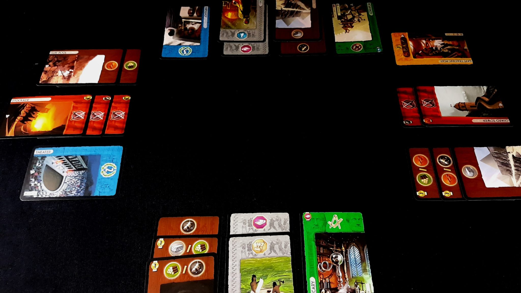 7 Wonders Cards in a Tableau