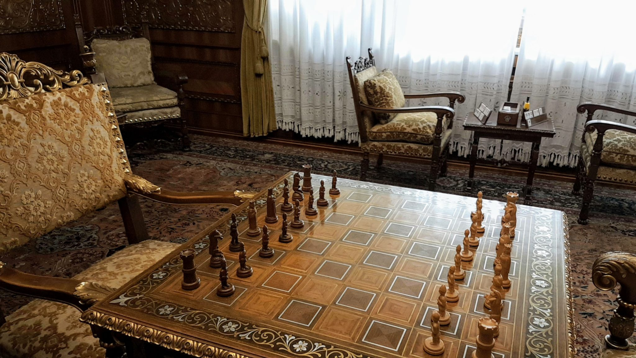 Chess set in ceausescu's summer palace