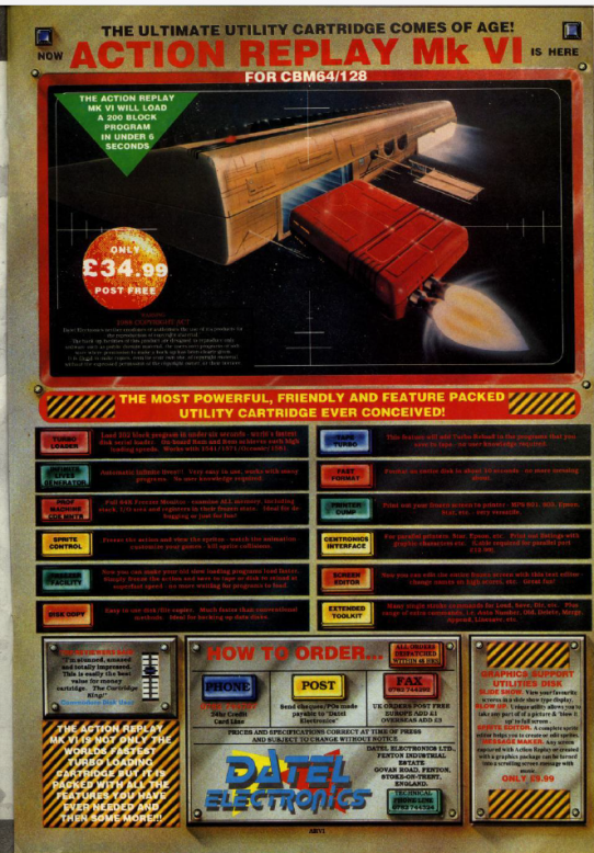 Action Replay cartridge from an issue of Zzap magazine