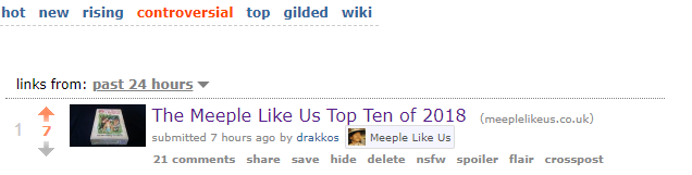 Meeple Like Us at the top of the controversial tab on Reddit