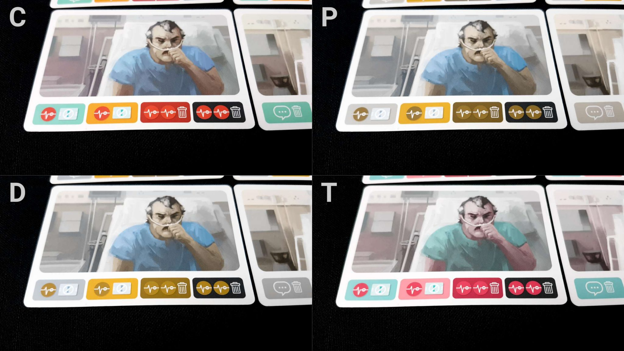 Colour blindness icons on cards