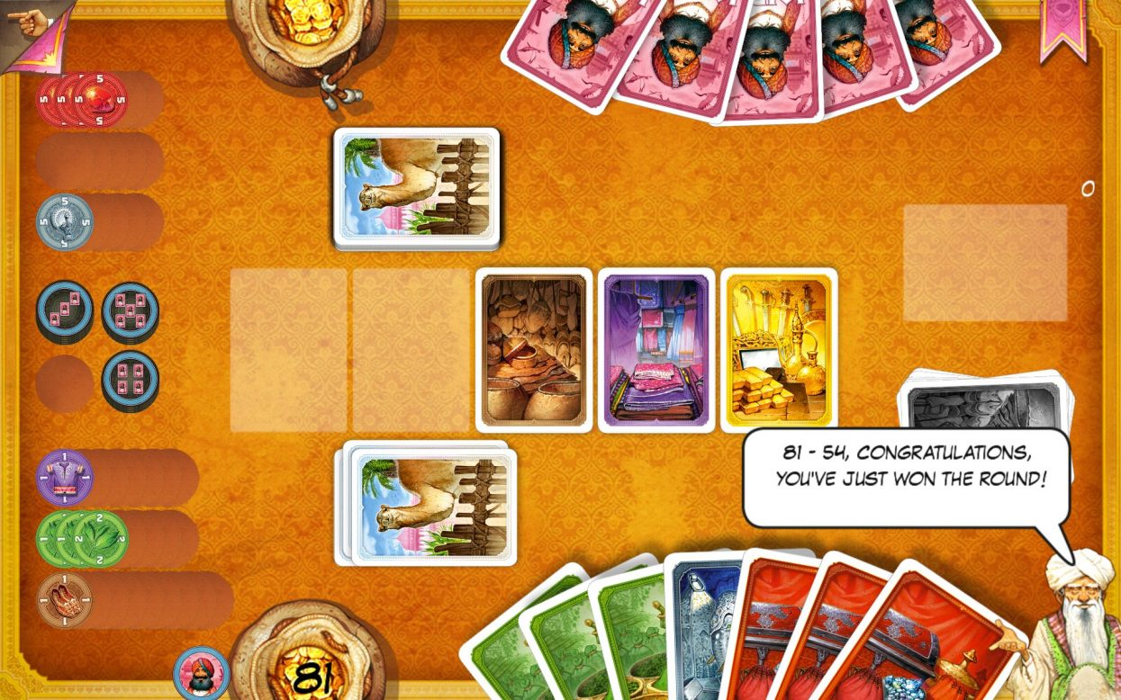 Screenshot of Jaipur - a near miss for the best board game apps