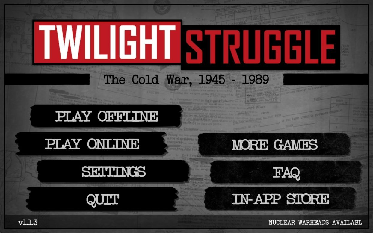 Twilight Struggle main menu