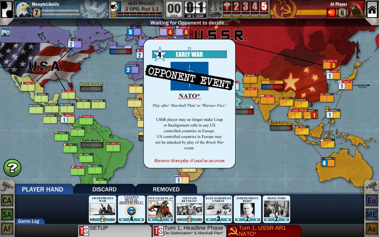 Twilight Struggle card being played