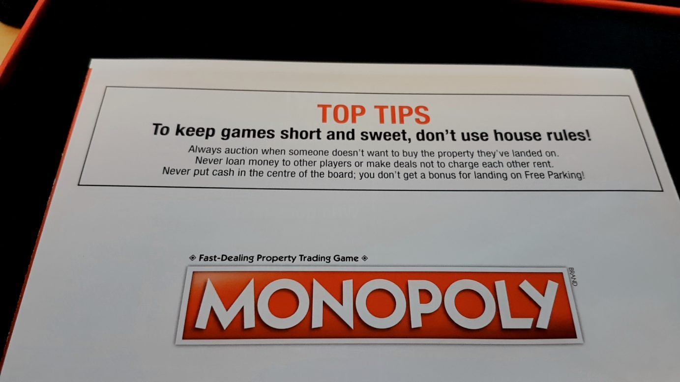 Monopoly tells you not to use house rules