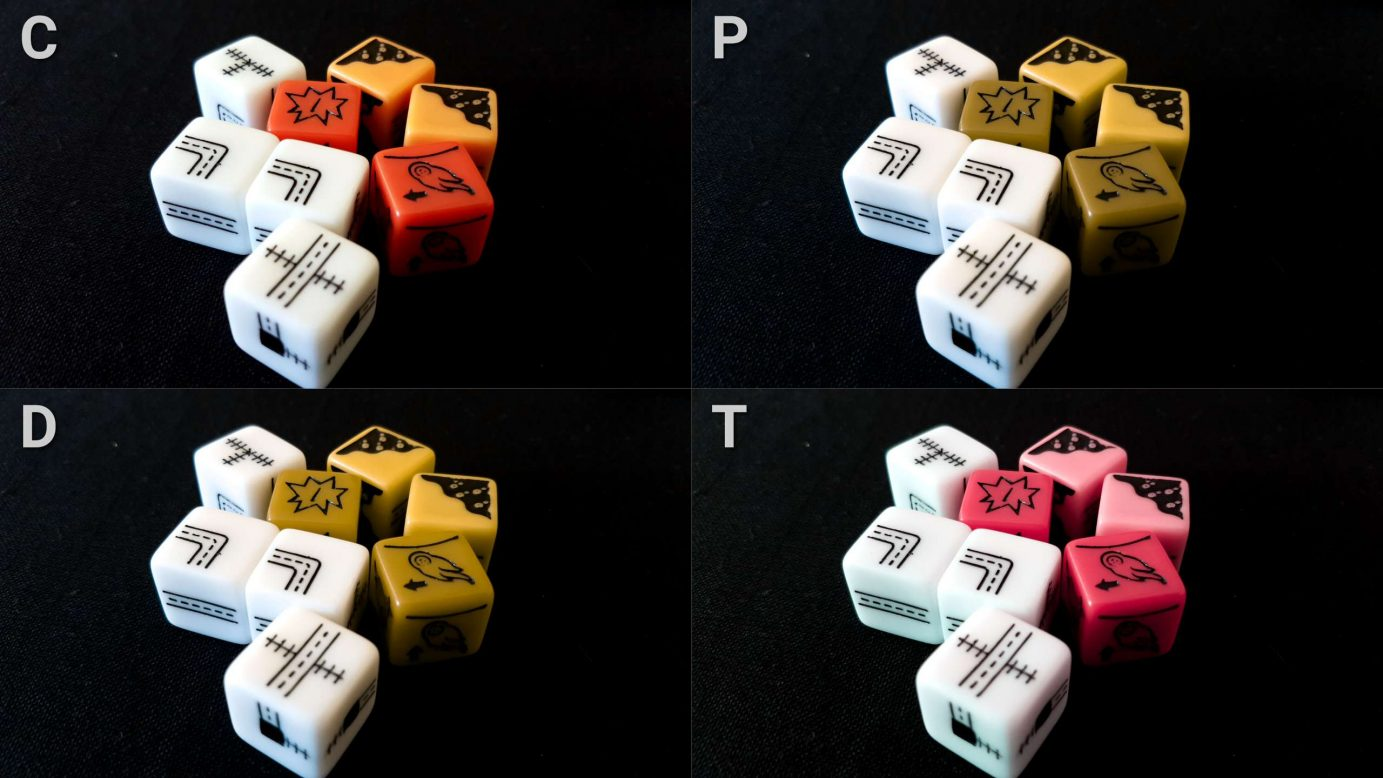 Railroad Ink colour blindness dice