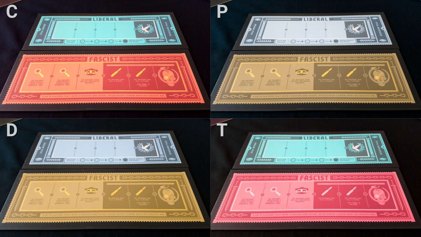 Colour blindness on Secret Hitler boards