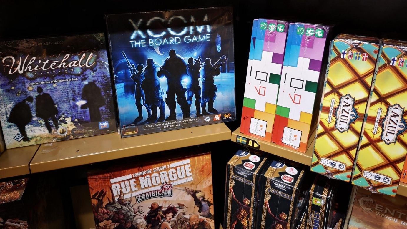 An image of some games on shelves