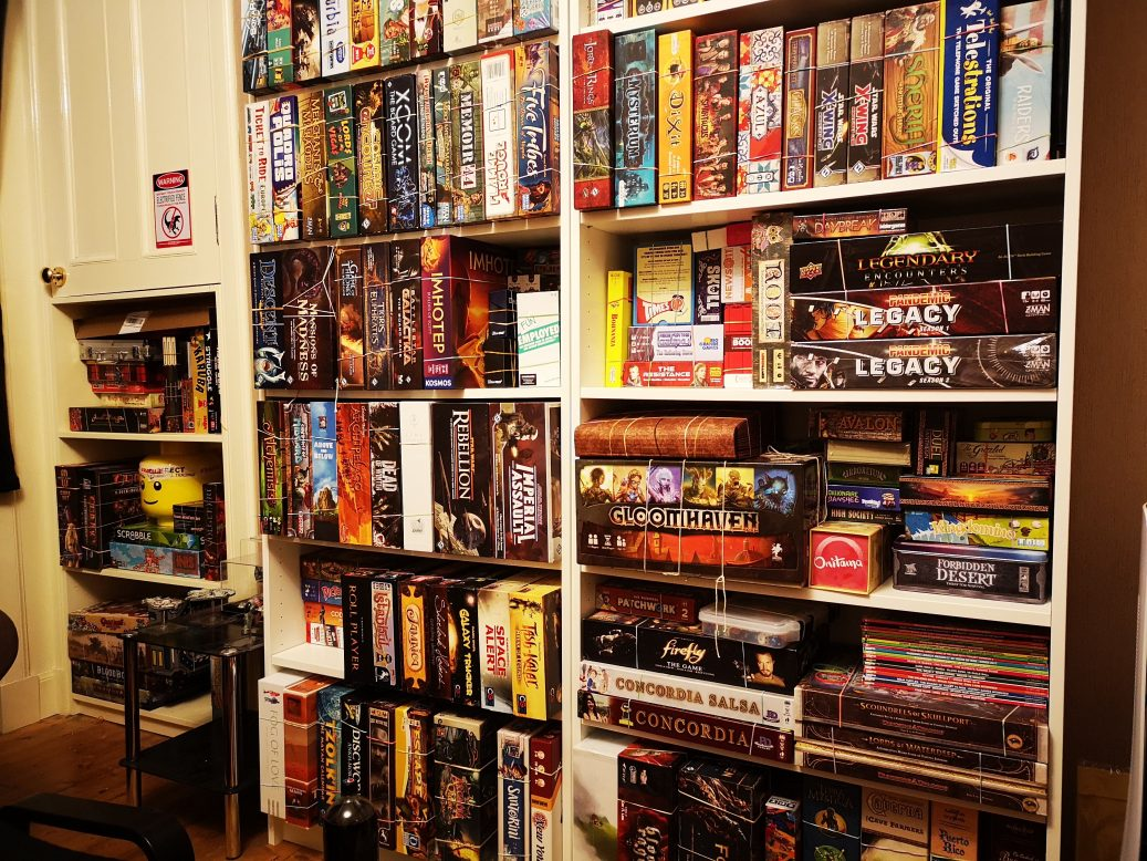 Shelves of games banded up and ready to go