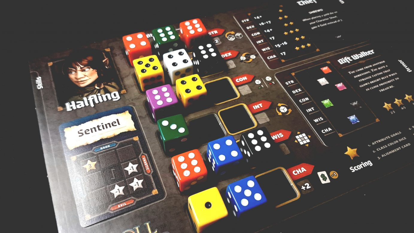 allocated dice on player board