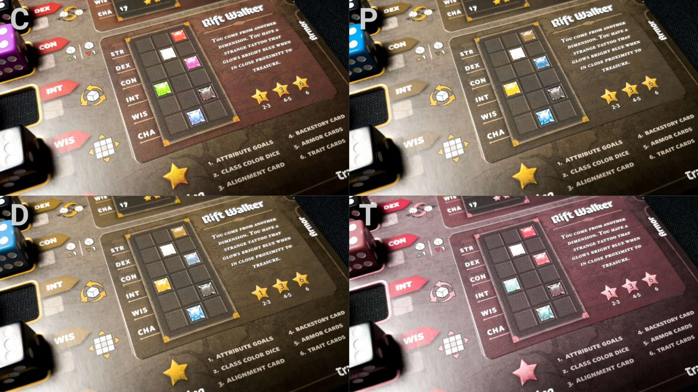 Colour blindness and the character sheets