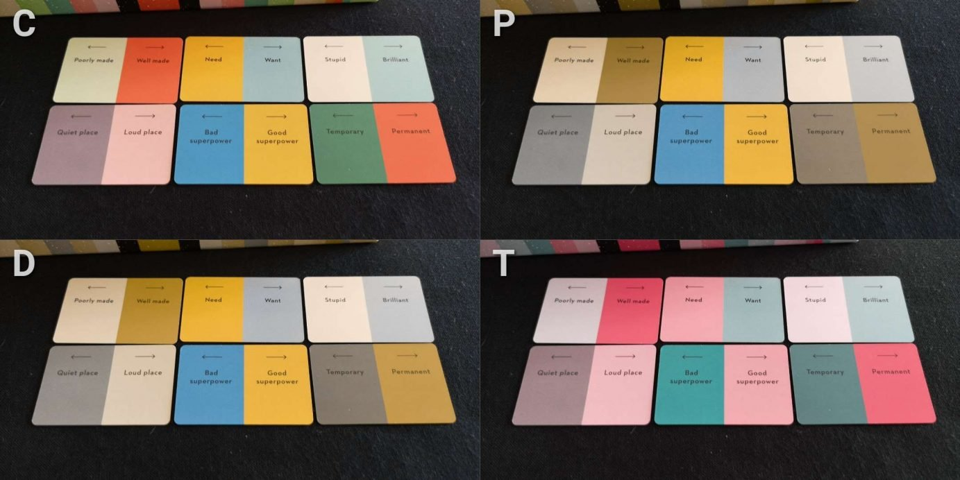 Cards and colour blindness in wavelength