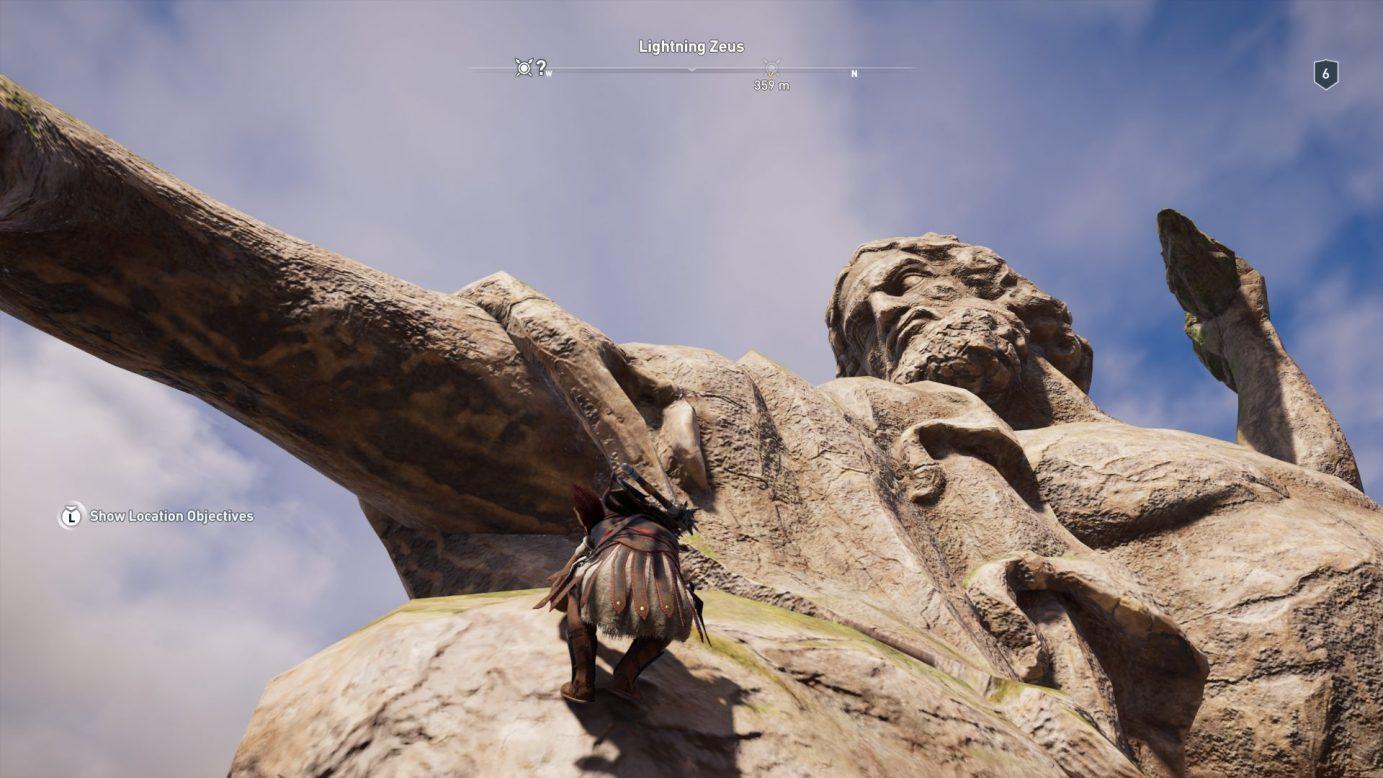 Climbing a statue