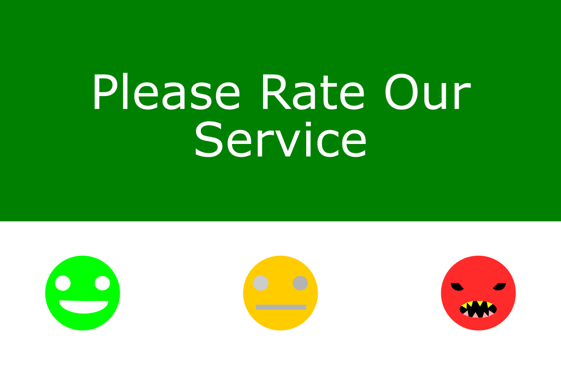 Please rate our service kiosk buttons